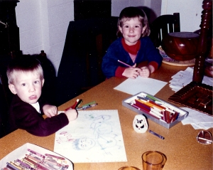 Joe and big sister Meg. Drawing was an everyday activity.