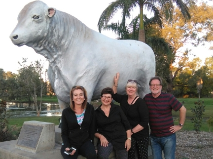 With Julie Fison, Majory Walker, Meredith Costain and just one of the many BULL statues in Rocky.